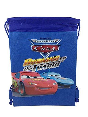 Disney Cars Blue Drawstring Backpack Tote Bag