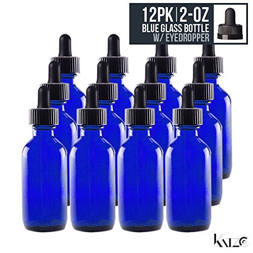 12 Pack- 2 Oz - Cobalt Blue Boston Round Glass Bottle With Glass Eye Dropper 60 ML - For Essential Oils, Fragrances, Beauty, Kitchen, Lab Chemicals, Medicine, Travel Etc. Re-Usable -By Katzco (E Juice Bottles Empty compare prices)