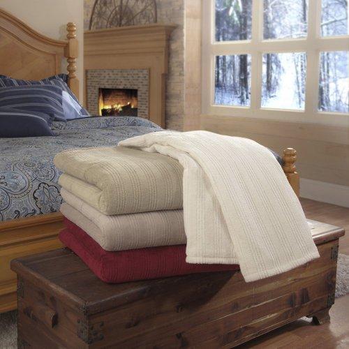 Soft Heat Soft Heat Plush Triple Rib Electric Warming Throw, Garnet Red, Polyester