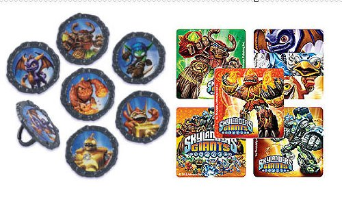 Best Review Of 12 Skylander Cupcake Rings with 12 Skylander Party Favor Stickers