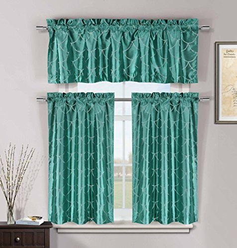Kitchen Window Curtain Set: Faux Silk, Metallic Raised Pin Dots Fish Scale Design (Teal)