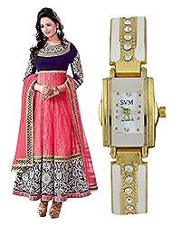 LegendDeal Pink and Blue Net Designer Anarkali Salwar Suits with Velvet Neck and SVM Watch Combo