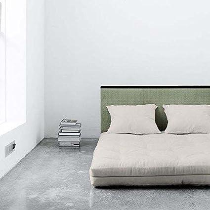 TATAMI BED Sano : le tatami, le futon, et les 2 coussins - une affaire ! déco et design - Coussins : 2 coussins sont fournis : 2 Coussins Noir - Futon : FUTON : effet Lin (140 x 200 cm)