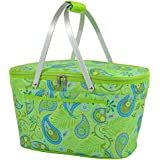 Collapsible Basket in Paisley Green