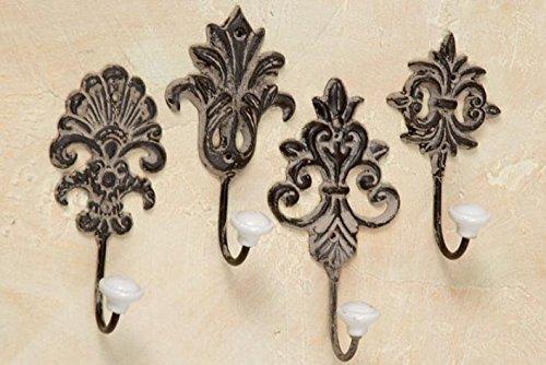 Kleiderhaken-Wandhaken-Hier-V2-Kleiderhaken-Handtuchhaken-Landhaus-Metall-Keramikknauf-4-Stck