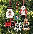 Wooden Photo Frame Christmas Ornaments - Box of 12 Assorted Styles - Snowman Tree Santa Train Snowflake & Gingerbread Man