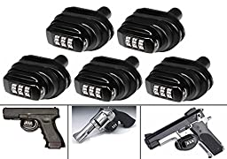 Ultimate Arms Gear Pack Of 5 Number Combination Secure Steel & Zinc Bodied Universal Firearm Guns Handguns Pistols Revolvers Shotguns Rifles Protective Lock Safety Trigger Block Locks
