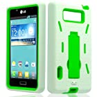 MINITURTLE(TM) White / Neon Green, Premium Durable Heavy Duty 2 in 1 Silicone Skin Gel + Hard PC Plastic Hybrid Protective Case Cover with Built in Kickstand for Prepaid Straight Talk LG Optimus Showtime L86C / L86G (Verizon)