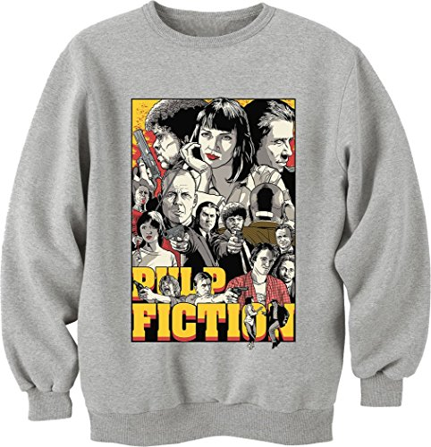 Pulp Fiction-Vintage Inspired Interiors-Felpa a girocollo, Unisex grigio Large