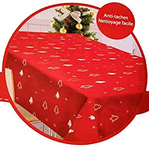 Nappe rectangulaire de noel rouge anti taches 150x200 6 - Nappe de cuisine rectangulaire ...