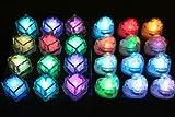 【ノーブランド】光る氷 レインボー LEDアイスライト キューブ・ハート 各12個 24個セット