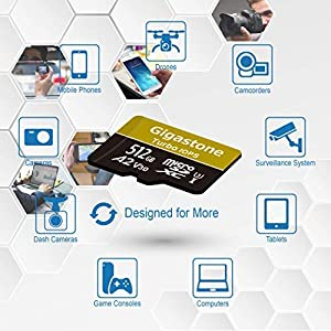 Gigastone 512GB Micro SD Card MicroSD A2 V30 UHS-I U3 Class 10, Run App for Smartphone, UHD 4K Video Recording, 4K Gaming, Read/Write 100/80 MB/s, Compatible Nintendo Dash cam GoPro Camera Tablet (Color: 512GB A2 V30)