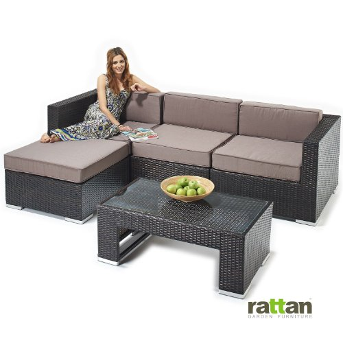 garden furniture rattan corner sofa and table set brown rattan with linen cushions all. Black Bedroom Furniture Sets. Home Design Ideas