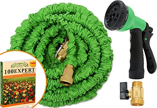 Expandable Hose Nozzle, No Kinking Flexible Lightweight Super Strong Green Nozzle, Water Graden, Expands 3 Times From It's Original Length, Solid All Brass Sprayer With 7-pattern Multi-functional Spray Nozzle 50ft