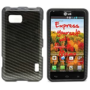 Black Carbon Fiber Hard Case Snap On Cover For LG Cayenne / Mach LS860