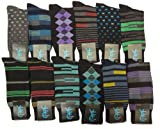12 Pairs Mens Multi Color Printed Design Fashion Dress Socks Size10-13 #MD1007F