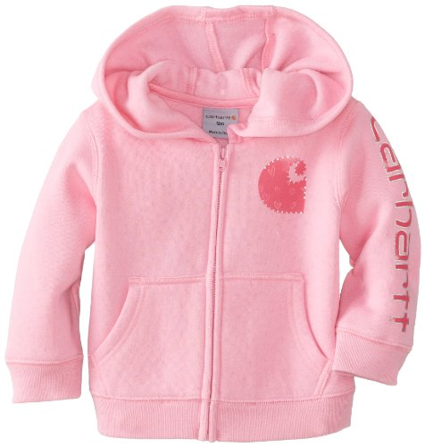 Carhartt Baby-Girls Infant Brushed Fleece Zip Front Jacket, Rosebloom, 12 Months front-765142
