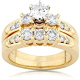 1 1/4ctw Three Stone Round Brilliant Diamond Wedding Ring Set in 14Kt Gold (HI/I1) - Size 8