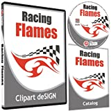Racing Flames Clipart-Vinyl Cutter Plotter Images-Vector Clip Art Graphics CD-ROM