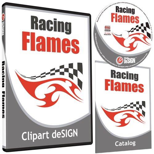Racing Flames Clipart-Vinyl Cutter Plotter Images-Vector Clip Art Graphics Cd-Rom front-850627