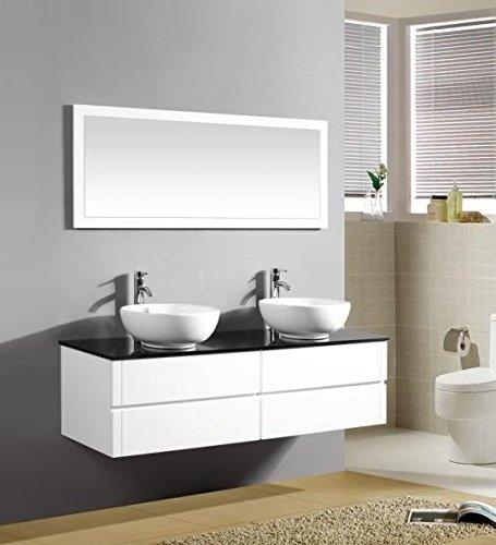 Mobile Arredo Bagno 150cm sospeso bianco con lavabo d'appoggio e specchio Mobili