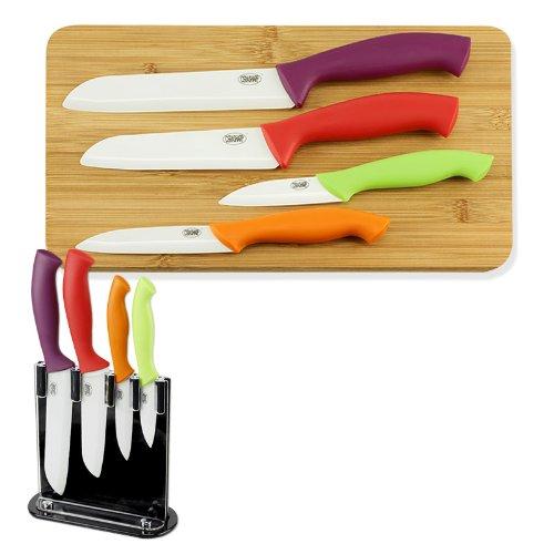 CERASHARP 4-Piece Ceramic Knife Set - Superior Blade Strength & Cutting Performance