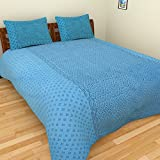 MGM KHADI 35 TC Khadi Cotton Double Bedsheet with 2 Pillow Covers - Paisley, Queen Size, Blue