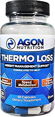 Thermo Loss Fat Burner - 30 Day Serving - Caffeine Free - Stimulant Free, No Jitters, No Energy Crashes - Formulated with Raspberry Ketone, Green Tea Extract, Cayenne, L-Carnitine - Agon Nutrition