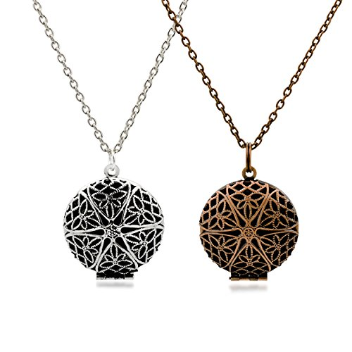 Set of 2 Aromatherapy Essential Oil Diffuser Necklace pendants Antique Silver and Bronze + 5 Pads (Doterra Oils Humidifier compare prices)