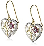 18k Yellow Gold Plated Sterling Silver Ruby and Diamond Accent Heart Earrings