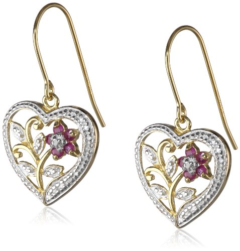 18k Yellow Gold Plated Sterling Silver Ruby and Diamond Accent Heart Earrings: Dangle Earrings: Jewelry
