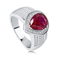 BERRICLE Sterling Silver Pear Cut Simulated Ruby Cubic Zirconia CZ Halo Womens Fashion Cocktail Ring from BERRICLE