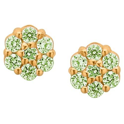Emerald Green Cubic Zirconia Flower Cluster 14K Yellow Gold Screw Back Earrings