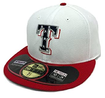 New Era 59Fifty Independence On-Field Texas Rangers White & Red Fitted Cap by New Era