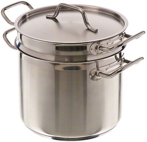 Update International SDB-08 Stainless Steel Induction Ready Double Boiler With Cover, Natural Finish, 8-Quart