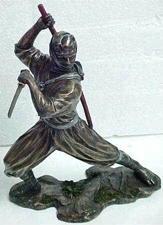 Ninja Warrior W/ Swords Statue Figure Martial Arts