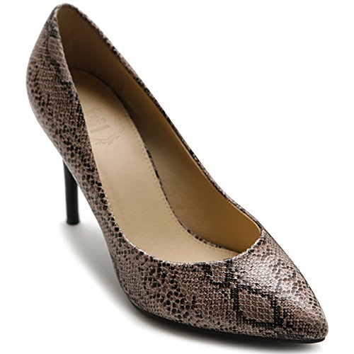 Ollio Women'S Shoe D'Orsay Snakeskin Pointed Toe High Heel Multi Color Pump (8 B(M) Us, Beige)
