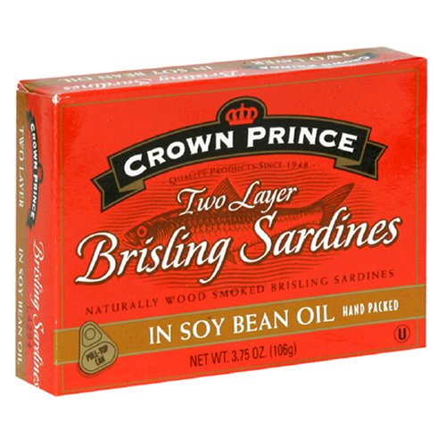 Crown Prince Two Layer Brisling Sardines in Soy Bean Oil, 3.75-Ounce Cans (Pack of 12)