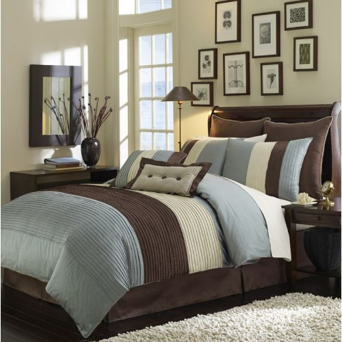 8 Pc Luxury Super Set, Blue / Beige / Choco Brown Faux Silk Comforter Set / Bed In Bag - California Cal King Size Bedding front-895280