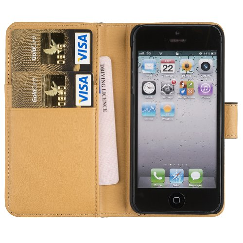 Fonerize Leather Wallet and iPhone 5 Case plus Card Holder in Black and Tan