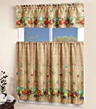 Mk Collection Kitchen Curtain Set Taupe Fruits Sheen New