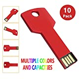 KEXIN 10PCS 4GB USB Flash Drive Metal Key Drive Memory Stick USB2.0 Red