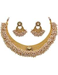 JFL - Designer Ethnic Traditional One Gram Gold Plated Pearl Moti & Kundan Necklace / Jewellery Set With Earring For Women & Girls With Royal Look - Huge Bunch Of Pearls & Real Kundan