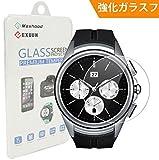 【Maxhood】 LG G Watch W200 強化ガラスフィルム, 9H硬度 0.3mm 超薄型 2.5Dラウンドエッジ加工 ウォッチ指紋防止 気泡防止 高透過率 強化ガラス保護フィルム (LG W200)