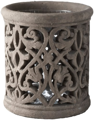 Lazy Susan Florid Cement Lantern, Small