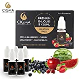 CIGMA-5-X-10ml-E-Liquid-Gemischte-Frchte-Apfel-Blaubeere-Kirsche-Erdbeere-Wassermelone-Neue-Formel-mit-nur-hochwertige-Zutaten-Hergestellt-fr-elektronische-Zigaretten-und-E-Shisha