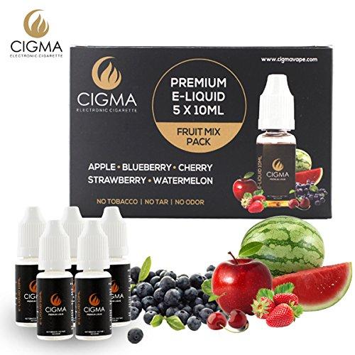 CIGMA 5 X 10ml E Liquid Gemischte Früchte 0mg (ohne Nikotin) Apfel, Blaubeere, Kirsche, Erdbeere, Wassermelone, Formel mit nur hochwertigen Zutaten für elektronische Zigaretten und E Shisha.