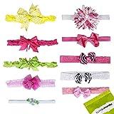 Bundle Monster 10 pc Baby Girls Bow Ribbon Elastic Lace Hair Band Headbands