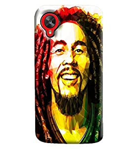 Blue Throat Bob Marley Printed Designer Back Cover/Case For LG Google Nexus 5