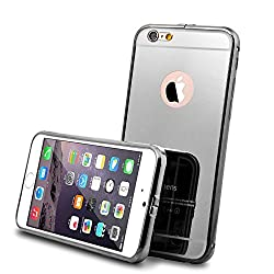 iPhone 6 Case and 9H 0.25mm Tempered Glass Screen Protector, Roybens Luxury Metal Air Aluminum Bumper Detachable + Mirror Hard Back Case 2 in 1 cover Ultra-Thin Frame, Cleaning Cloth For Apple iPhone 6 (4.7) Black